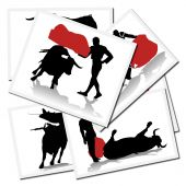 Collection of illustrations with a bullfighter in action spain poster