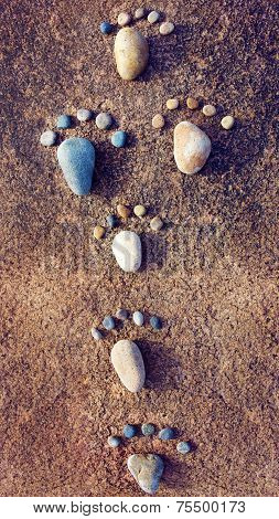Amazing concept from stone group of pebble as family illustration foot step on rock funny toe pretty idea for design poster