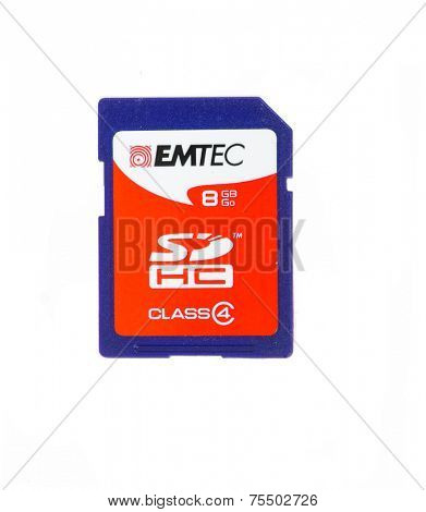 Hayward, CA - October 27. 2014: 8 GB EMTEC SDHC card