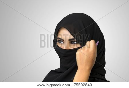 Beautiful Muslim girl wearing burqa closeup