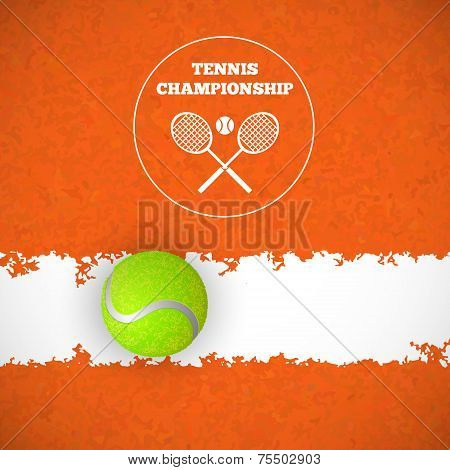 Tennis ball on court. Vector