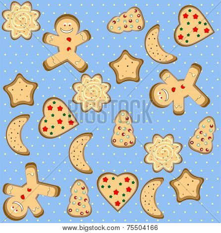 Vector Christmas seamless pattern with cute gingerbread