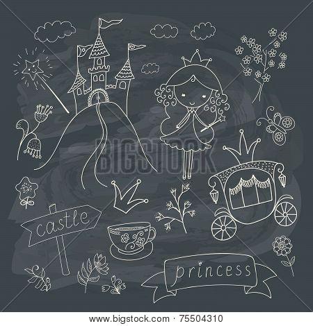 Hand drawn fairy tale princess doodle design elements set on chalkboard background. Vector illustration. poster