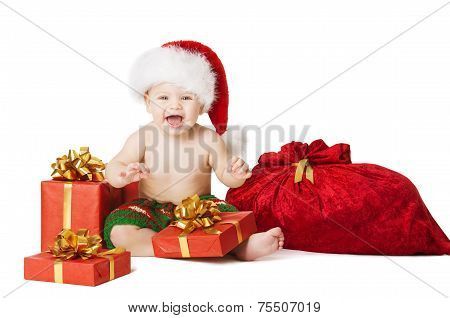Christmas Baby Kids, Present Gift Box And Santa Bag, Child Happy Smiling In Red Hat, Xmas Sackful