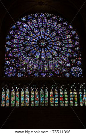 Paris Notre Dame Cathedral. North transept rose window. The Glorification of the Virgin Mary