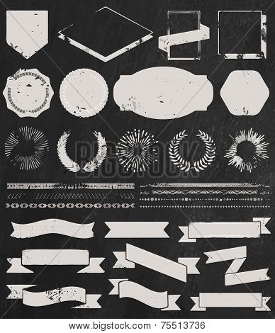 Chalk grunge textured set of vintage hipster icons
