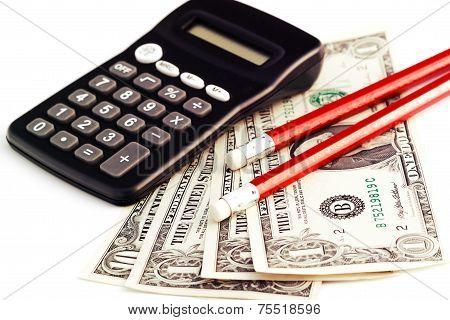 Calculator, Money And Pencils