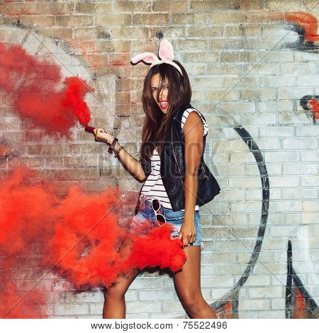 Naughty Girl In Pink Rabbit Ears With Red Smoke Bombs