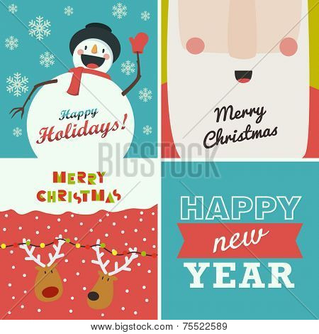 Set of four Christmas and New Year greeting cards. Santa Claus, funny snowman, deer on winter background and the words