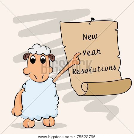 Kiddish sheep pointing to the resolution list for New Year celebration on beige background.