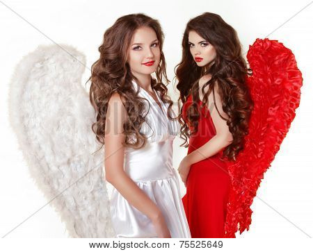 Attractive Fashion Beautiful Angel Girls With Angel's Wings. Valentine Day Women. Isolated On White