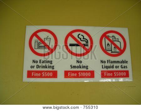 No food, smoking and flammable gas sign