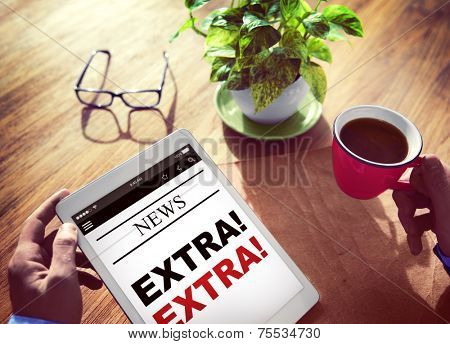 Businessman Holding Tablet Extra News Concept
