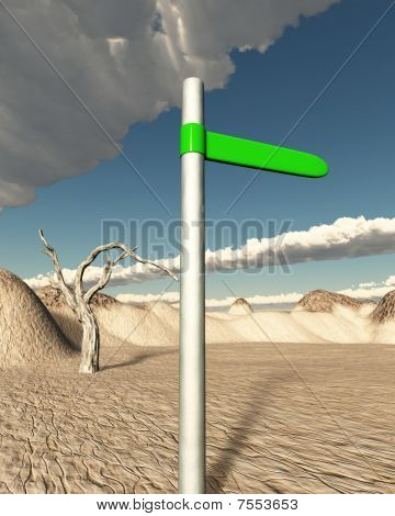 Green Road Sign In The Dessert Pointing To Oasis