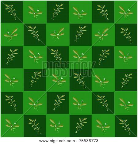 Mistletoe in Green and Dark Green Chess Board
