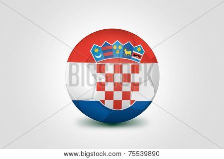 Soccer ball with Croacia flag isolated on white
