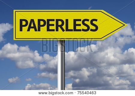 Creative sign with the text - Paperless