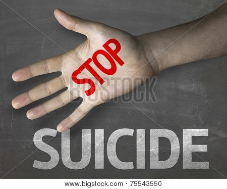 Creative composition with the message Stop Suicide