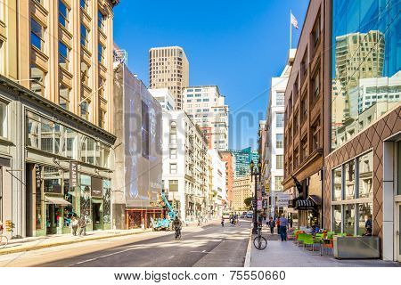 SAN FRANCISCO, CA - SEP 20: Downtown of San Francisco on September 20, 2013 in San Francisco. San Francisco has become the capital of what someone described to me as three-business-card life.