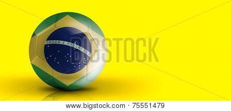 Amazing Soccer ball with Brazil flag isolated on yellow