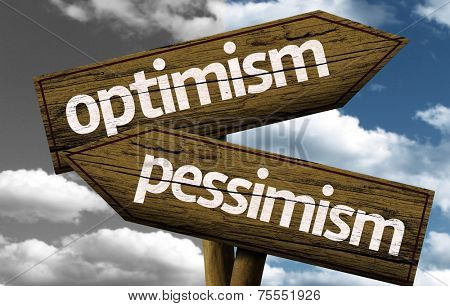 Optimism x Pessimism creative sign with clouds as the background