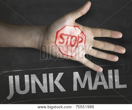 Educational and Creative composition with the message Stop Junk Mail on the blackboard