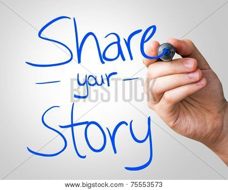 Share your story hand writing with a blue mark on a transparent board