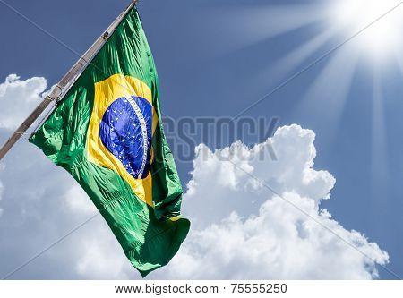 Brazilian flag on a beautiful day