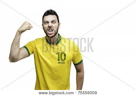 Brazilian man celebrates on white background