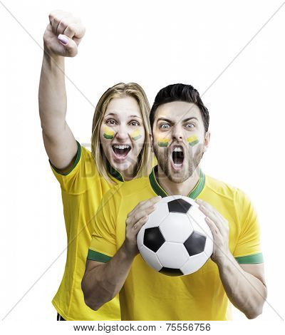 Brazilian couple celebrate on white background