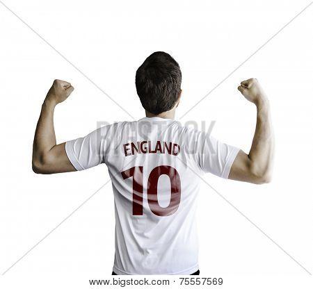 English soccer player celebrates on white background