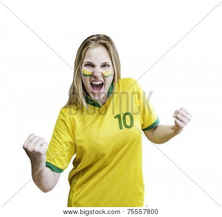 Brazilian fan celebrates on white background. Can be used as Australian uniform too.