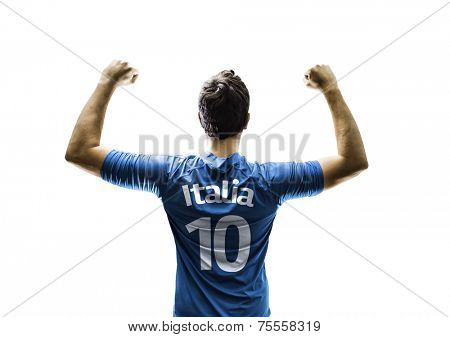 Italian fan player celebrates the victory on white background
