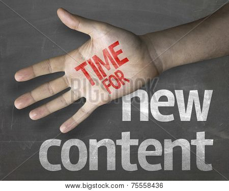 Educational and Creative composition with the message Time for New Content