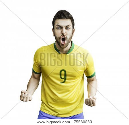 Brazilian soccer player celebrates on white background