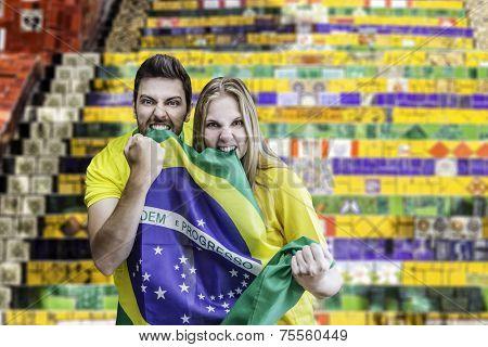 Brazilian couple fans celebrate in Rio de Janeiro, Brazil