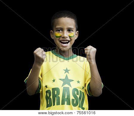 Brazilian fan boy celebrates isolated on black background