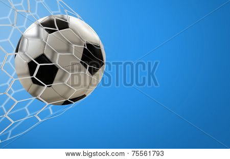 Soccer goal on blue background