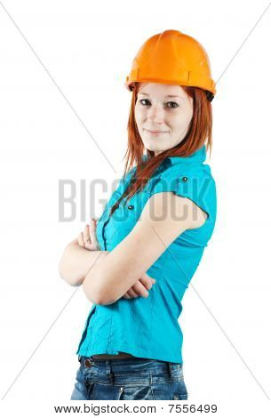 businesswoman in hard hat on white background poster