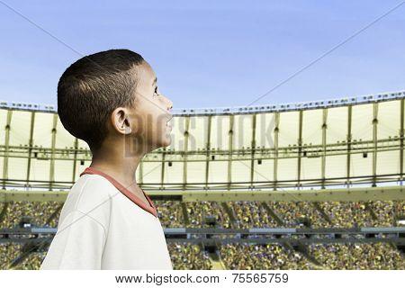 American little boy in the stadium