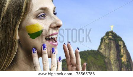 Blonde Brazilian fan celebrates in Rio de Janeiro, Brazil