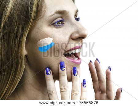Blonde Argentinian fan celebrates isolated in white background