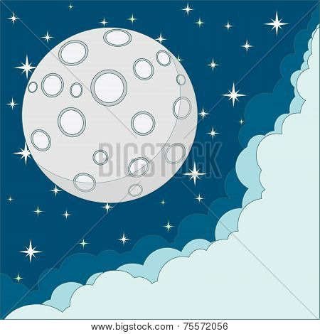 Vector Cartoon moon with space for text in the clouds