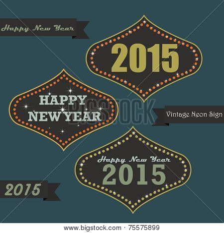 Vintage New year on Neon sign board