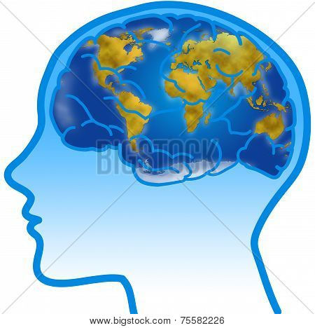 Profile with visible brain and World map.