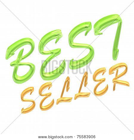 Glossy gold three-dimensional inscription Best seller as a sign. poster