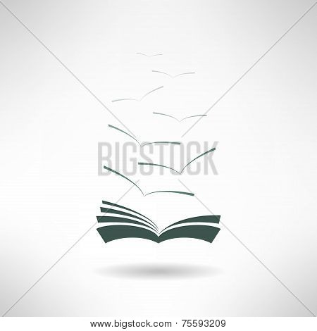 Book with seagulls made in flat design. Vector