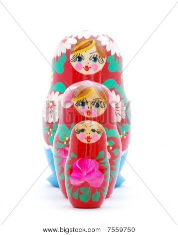 Russian nesting dolls on a white background. poster