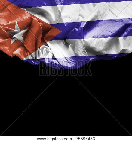 Cuba waving flag on black background