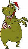 cartoon funny hippo zombie in santa hat joyfully dancing poster